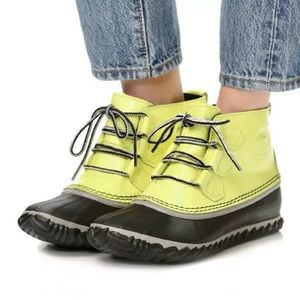 Sorel Out n About Rain Boot Patent Yellow Black